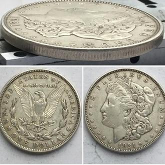 "США 1 доллар, 1921г Доллар Моргана Отметка монетного двора: ""D"" - Денвер / Серебро 0,900"