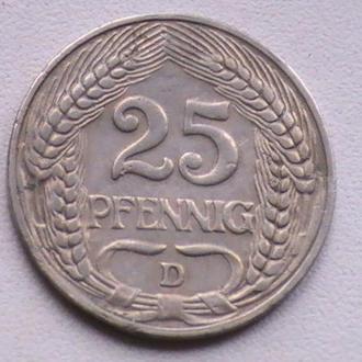 25 Пфенниг 1909 г D Германия 25 Пфенніг 1909 р D Німеччина