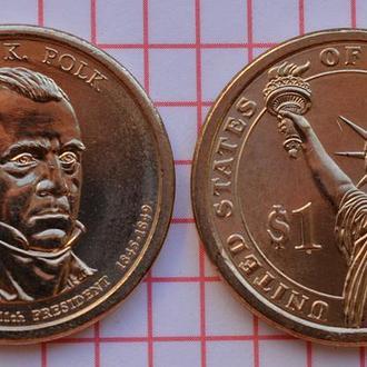 1 доллар 11-й президент США Дж.Н.Полк 2009 г
