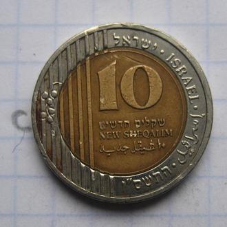 ИЗРАИЛЬ. 10 новых шекелей 2006 года (биметалл).