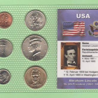 Набор монет США: 16 -й Президент США - Авраам Линкольн - Abraham Lincoln - пластик блистер запайка
