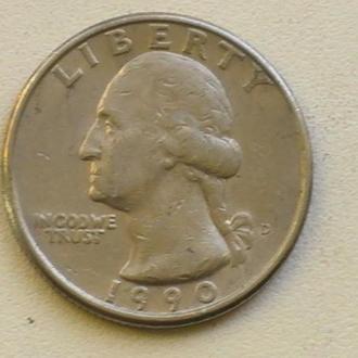 25 Центов 1990 г США Квотер 25 Центів 1990 р США