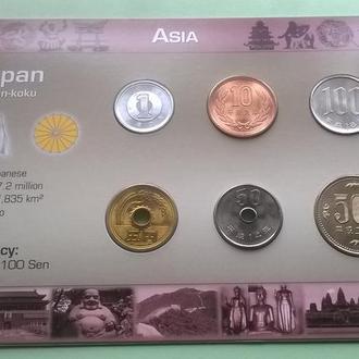 Набор монет ЯПОНИЯ пластик картон блистер запайка набір ЯПОНІЯ