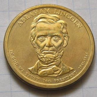 США_ 1 доллар 2010 года D  16-й президент Авраам Линкольн