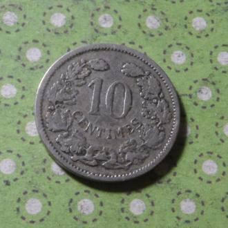 Люксембург 1901 год монета 10 сантимов !