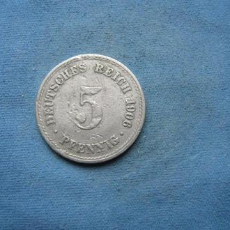 Германия 5 пфеннигов 1906 год (А)