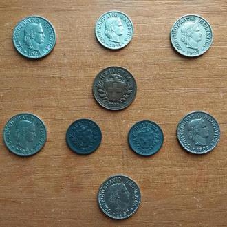 Швейцария - 2 раппен 1900 г + подборка.