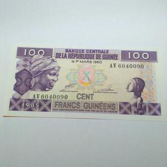 Гвинея, 100 франков 1960, пресс, unc, оригинал