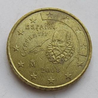 Испания 50 евроцентов 2008 *Мигель де Сервантес*