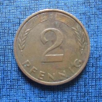 Монета 2 пфеннига ФРГ 1977 G