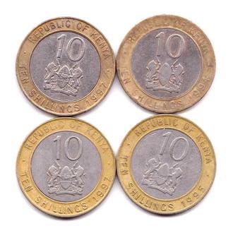 ZM Кения 10 шил. - 4 монеты  -  2 скана -