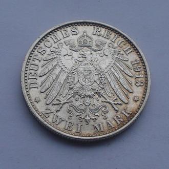 1913 г - 2 марки Германия,в мундире,серебро