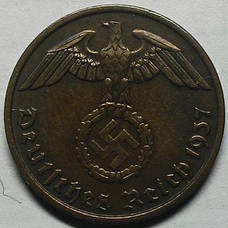 Германия 2 пфеннига 1937 D год