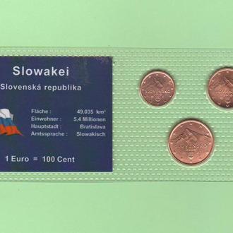 Набор монет СЛОВАКИЯ СЛОВАЧЧИНА 3 монеты блистер запайка пластик