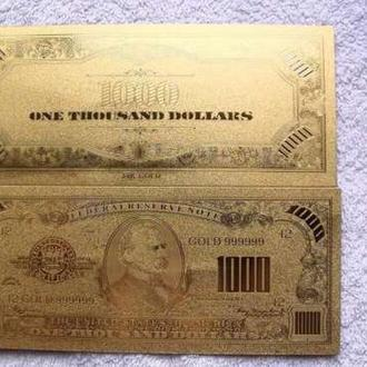 Золотая банкнота 1000 Долларов.
