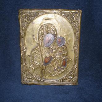 Икона старая. Божья матерь. Дерево, масло