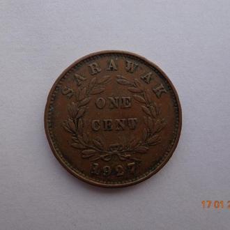 Британский протекторат Саравак 1 цент 1927H C.V.Brooke Rajah отличное состояние очень редкая