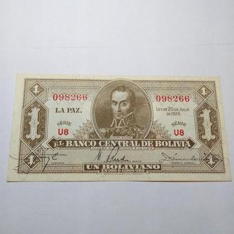 1 боливано 1928, Боливия, Unc, пресс, оригинал