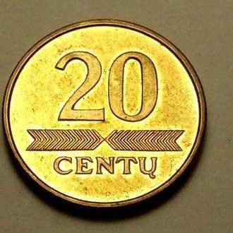 20 центов 1998 года Литва  !!! а2