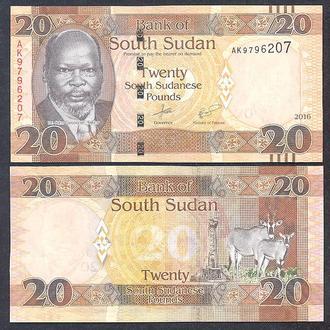 Боны Африка Судан Южный 20 фунт 2015-16 г.
