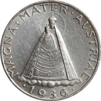"""Австрия 5 шиллингов 1936 г., AU, """"Первая Республика (Шиллинг) (1925 - 1938)"""""""