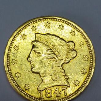 2 1/2 доллара, 2,5 США 1847 года, Филадельфия, сохран! RARE! RRR! Оригинал, золото 900  вес 4,14 г.