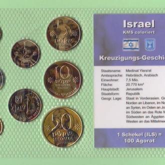 Набор из 8 ЦВЕТНЫХ монет ИЗРАИЛЬ пластик блистер запайка набір КОЛЬОРОВИХ колір монет ІЗРАЇЛЬ
