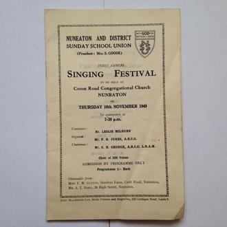 Старые Ноты 1949 г.  Англия. Спец издание Поющий фестеваль.