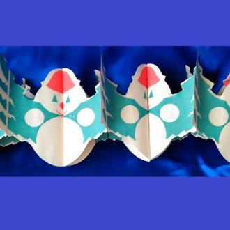 Елочная бумажная гирлянда 70-е СССР Снеговик раскладушка