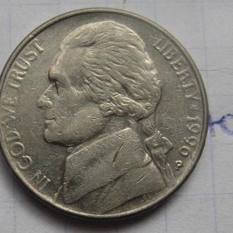 "США, 5 центов 1990 г. ""Р""."