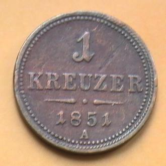 1 Крейцер 1851 А Австрия