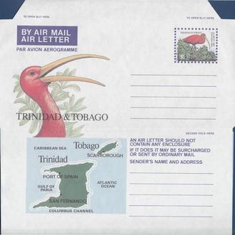Тринидад Тобаго 1980 АЛЫЙ ИБИС ПТИЦА ОРНИТОЛОГИЯ ФАУНА ДИКАЯ ПРИРОДА КАРТА КАРТОГРАФИЯ АГ ОМ**