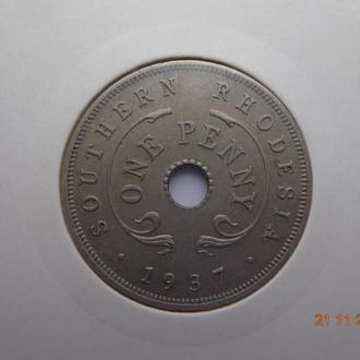 Южная Родезия 1 пенни 1937 George VI отличное состояние редкая