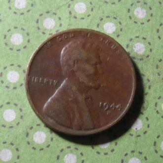 США 1944 В год монета 1 цент Америка !