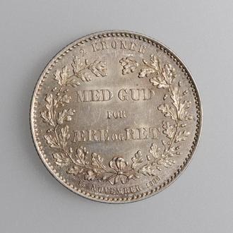 """Дания 2 кроны 1888 г., UNC, """"25 лет правления"""""""