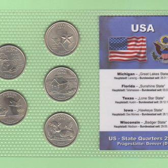 Набор квотер ов США 2004 D - пластик блистер запайка