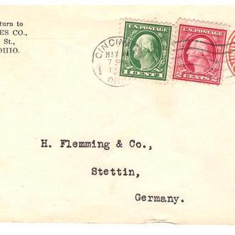 США 1923 г -  конверт   -   США / Германия  --