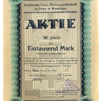 Акция Сертификат на Акцию Stahlwerk Oese AG 1923 Германия Fv8.6