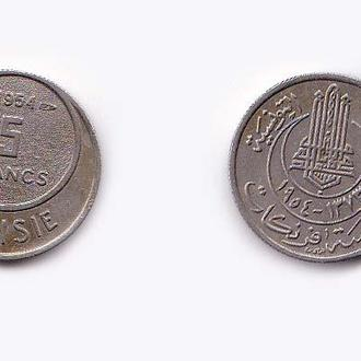Тунис Французский  5 франков 1954