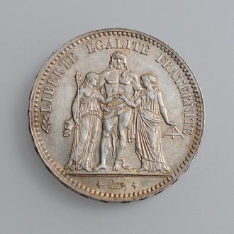 "Франция 5 франков 1877 г. A, AU, ""Третья Республика (1870 - 1941)"""