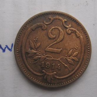 АВСТРО-ВЕНГРИЯ. 2 филлера 1914 года.