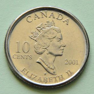Канада 10 центов, 2001 Юбилейная