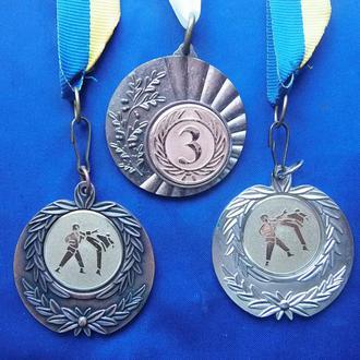 Медали спортивные Каратэ и 3 место  3 шт