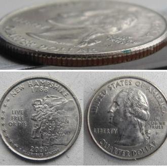 """США ¼ доллара, 2000г. Квотер штата Нью-Гэмпшир.  Отметка монетного двора: """"P"""" - Филадельфия"""