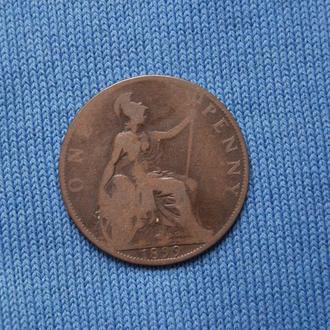 Великобритания  1 пенни 1899 г  королева Виктория