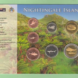 Набор монет остров NIGHTINGALE / НАЙТІНГЕЙЛ  /  НАЙТИНГЕЙЛ пластик картон блистер запайка