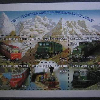 Чад 1998г.** жд транспорт паровозы поезда