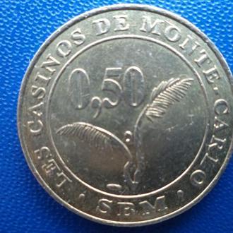Жетон игровой Казино Монте-Карло 0,50 евро диаметр 24 мм  - 2