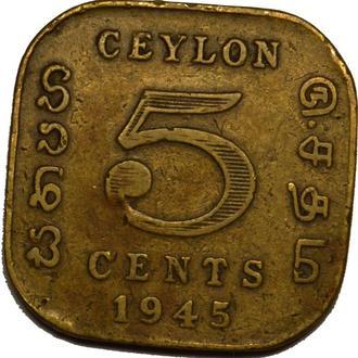 Цейлон 5 центів 1945  B270