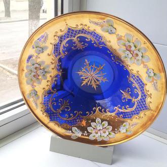 тарелка богемское стекло на подставке